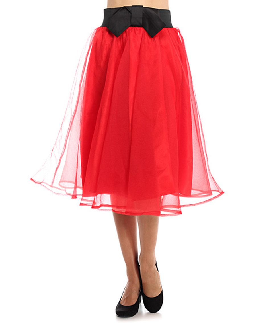 This bellino red u black bowaccent aline skirt by bellino is