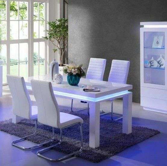 Lenovo High Gloss Dining Table In White With Led Lights