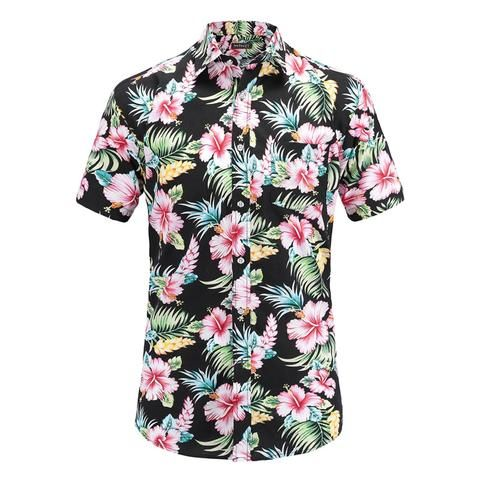 ae17e9712c2a Plus Size 5XL 2018 New Summer Mens Short Sleeve Hawaiian Shirts Cotton  Casual Floral Shirts Wave
