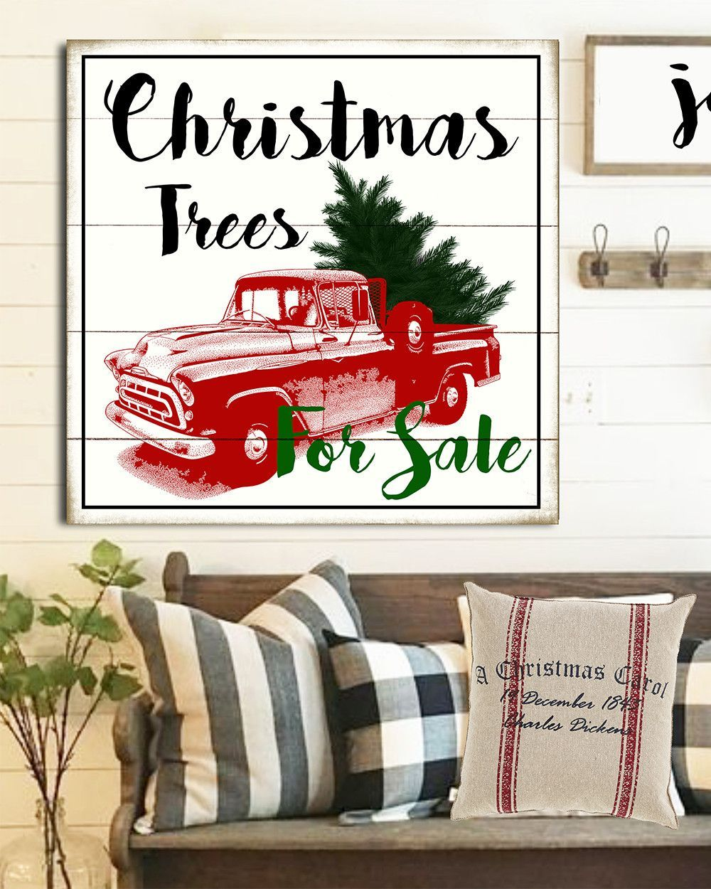 vintage farmhouse christmas sign christmas trees for sale wall art - Farmhouse Christmas Decor For Sale