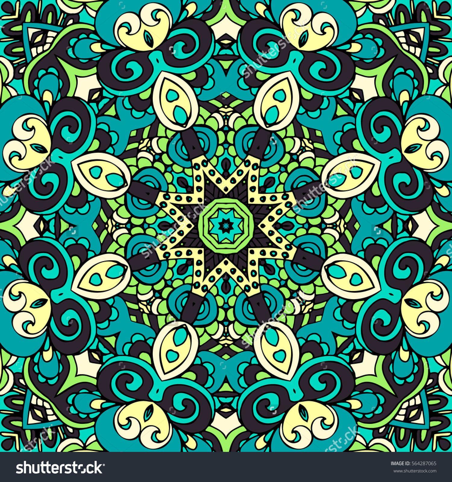 Abstract geometric mosaic mandala vintage ethnic seamless Flourish ...