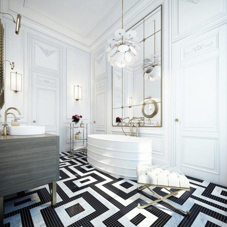 Blackwhitemosaictilefloorbathroombathcococozyhomeadore Classy Black And White Mosaic Tile Bathroom Design Ideas