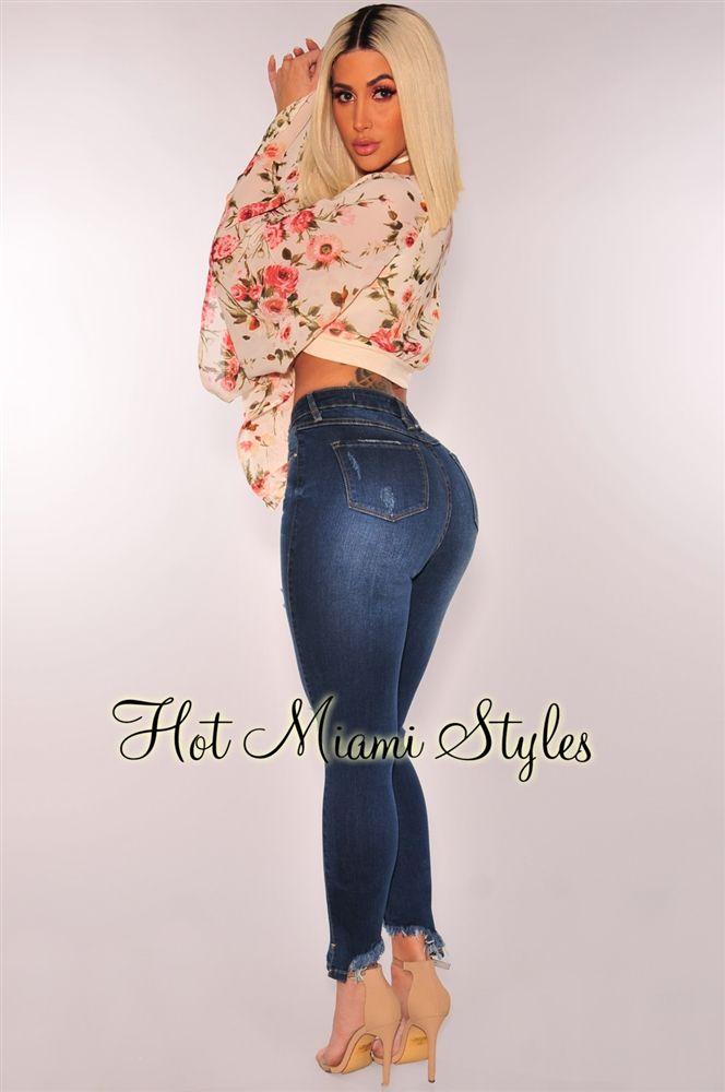 84e22d9e21e Dark Denim Ripped Knee Frayed Ankle Length High Waist Skinny Jeans ...
