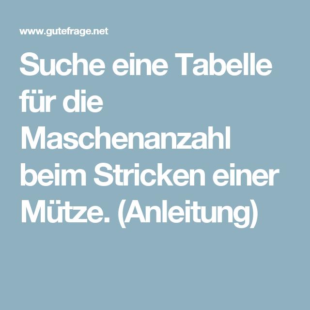 maschenanzahl mütze tabelle