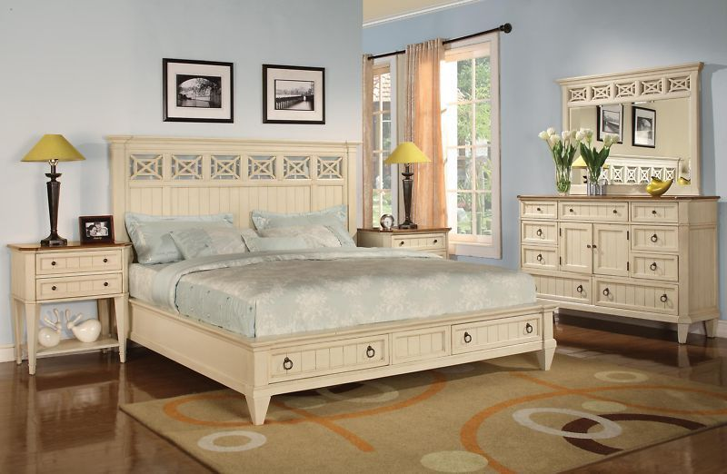 French Cottage Antique White King Size Bed W/ Drawers Wynwood Bedroom  Furniture