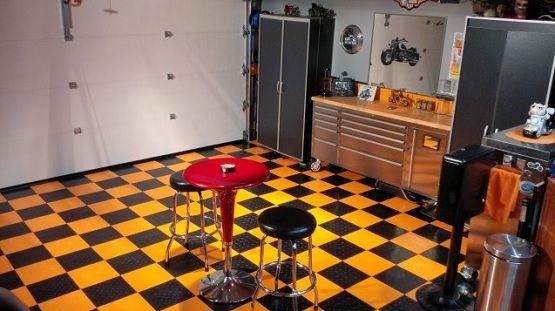 Black And Yellow Vinyl Garage Flooring Flooring Ideas Floor Design Trends Vinyl Garage Flooring Garage Floor Flooring