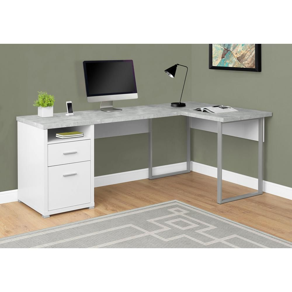 Unbranded White Computer Desk Hd7258 The Home Depot In 2020 White Computer Desk Home Office Computer Desk L Shaped Corner Desk