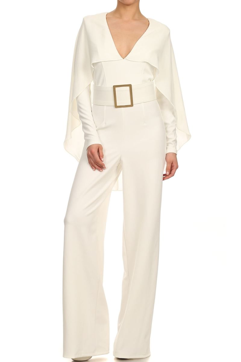 White Long Sleeves Belted Palazzo Jumpsuit Jumpsuit