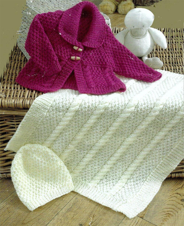 9a7401005 PDF Instant Digital Download baby aran jacket blanket   hat knitting ...