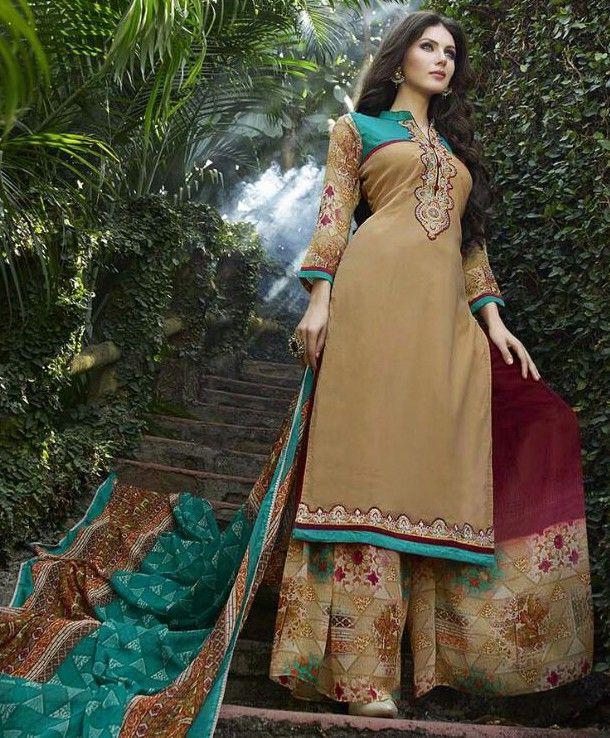 Georgette Patch Work Beige Plain Semi Stitched Pakistani Suit - 45759