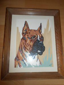 Vintage Mid Century Modern 1960 Paint By Numbers Boxer Dog Framed