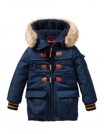 Warm winter coat detailed with toggle closure and detachable soft faux fur…