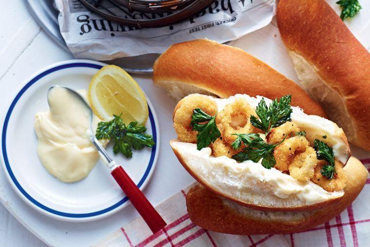 Crumbed calamari rolls