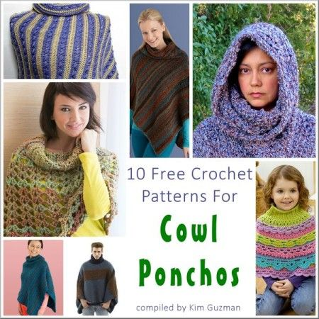 10 Beautiful Free Cowl Poncho Crochet Patterns -- Beautiful stitch combinations and classic asymmetrical lines came into play and incredible textures stood up to the test. Now, you can have 6 or 7 ponchos and each could be a style all its own. #crochet #poncho #diy