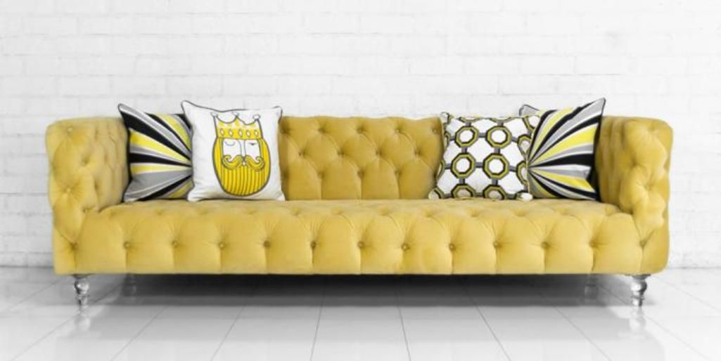 bright yellow tuffted velvet sofa house ideas pinterest room rh pinterest com Tufted Sectional Sofa yellow leather tufted sofa