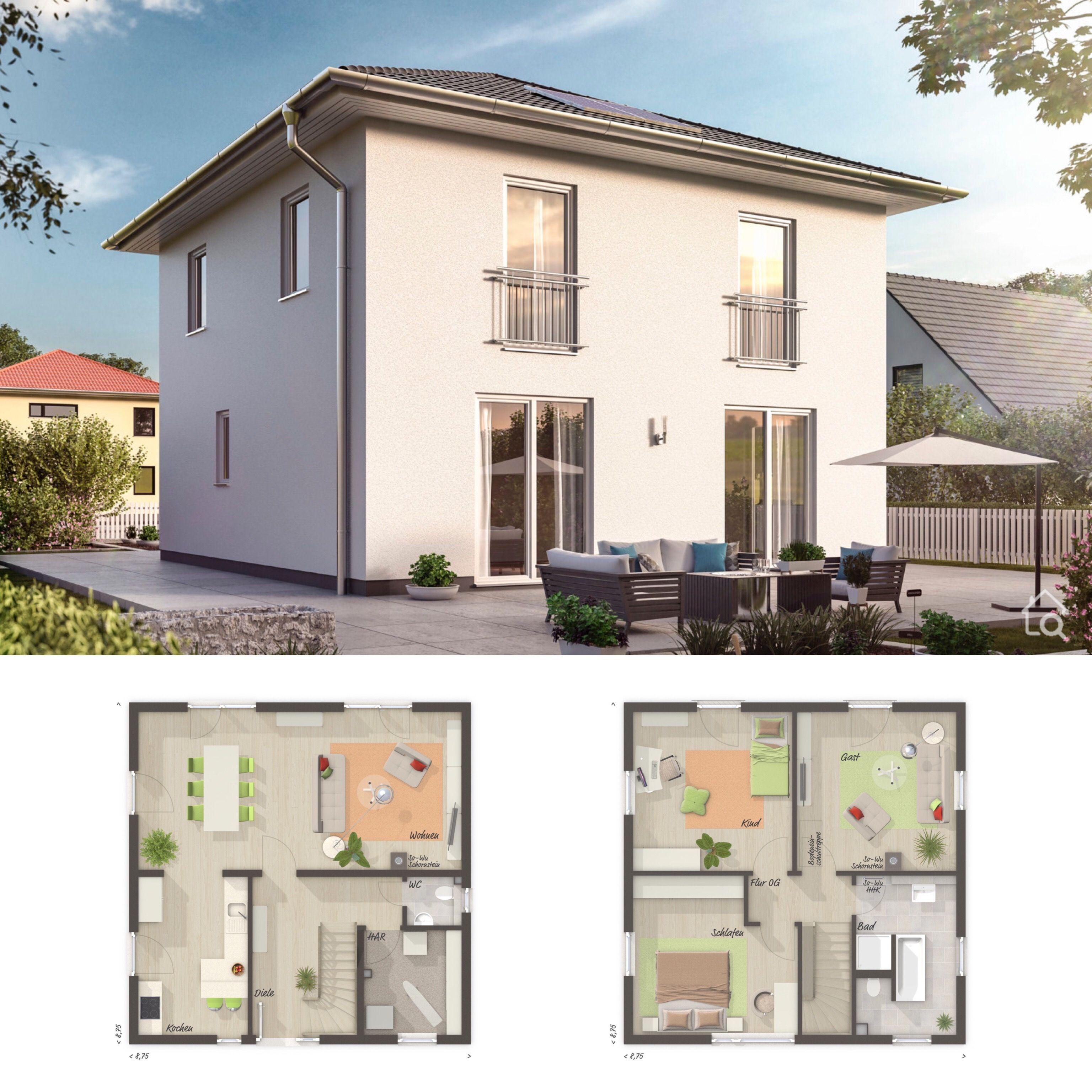 Architecturehome Design: Stadtvilla Modern Mit Walmdach & Putz Fassade Wei