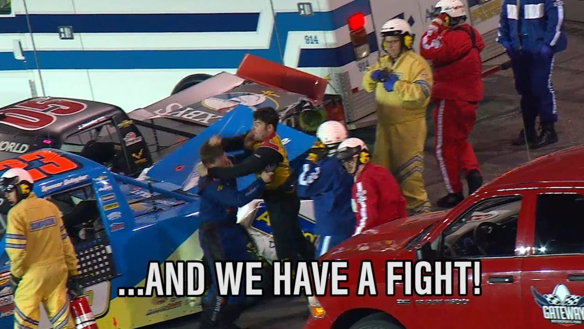NASCAR Truck Series Fight at Gateway Motorsports Park. Watch the fight between John Wes Townley and Spencer Gallagher here https://racingnews.co/2016/06/26/nascar-truck-series-fight-gateway-motorsports-park/ #gatewaymotorsportspark