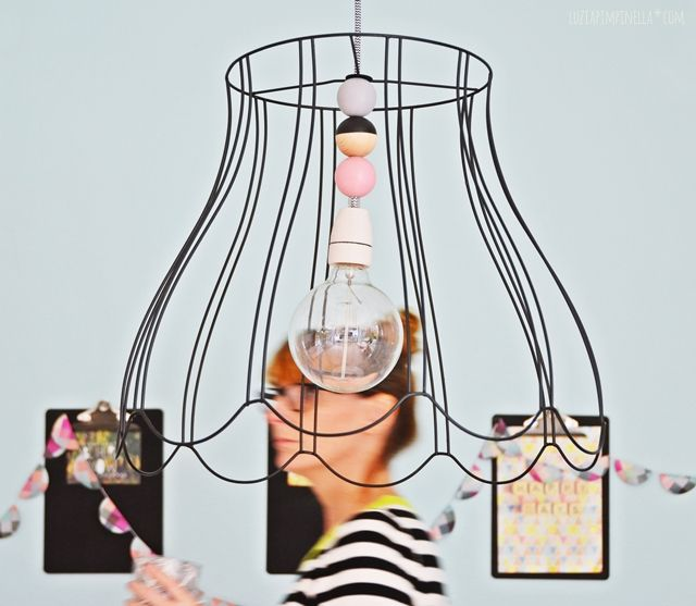 interior DIY upcycling project lampshade from the bulky waste