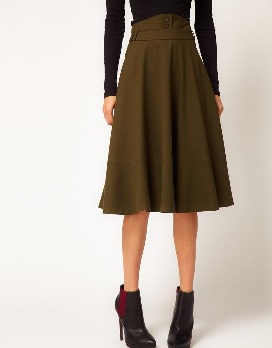 ASOS | ASOS Midi Skirt With Waist Detail at ASOS