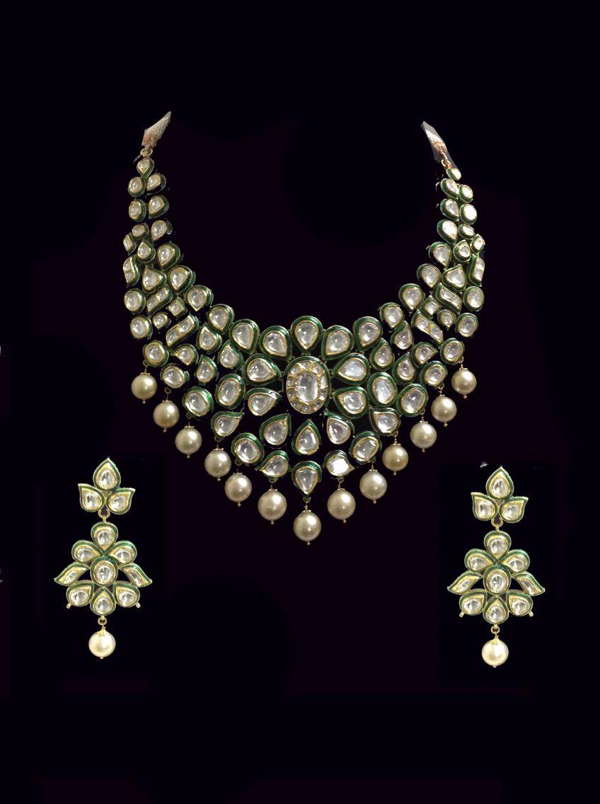 Classic green enamel Polki diamond south sea