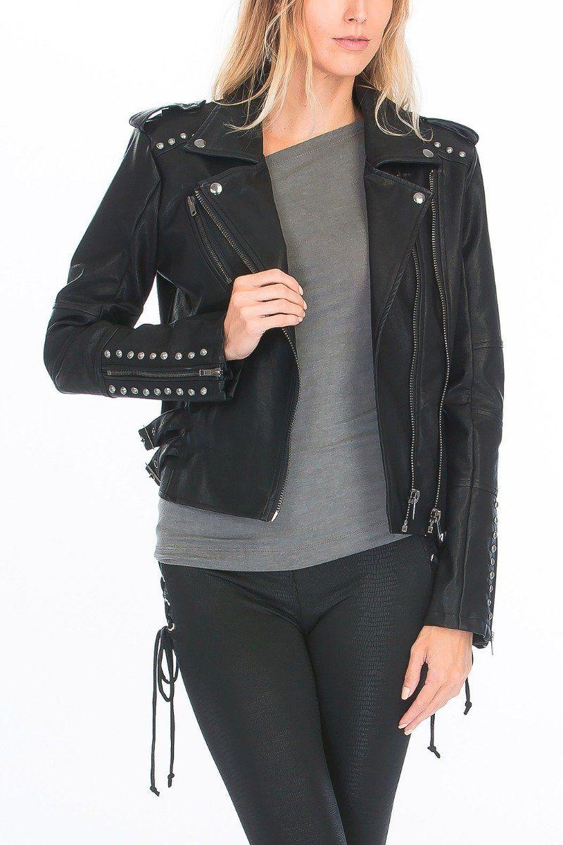 Black Motor Biker Genuine Real Leather Jacket Silver Studded Hand Made Rider Vegan Leather Jacket Genuine Leather Jackets Leather Jacket