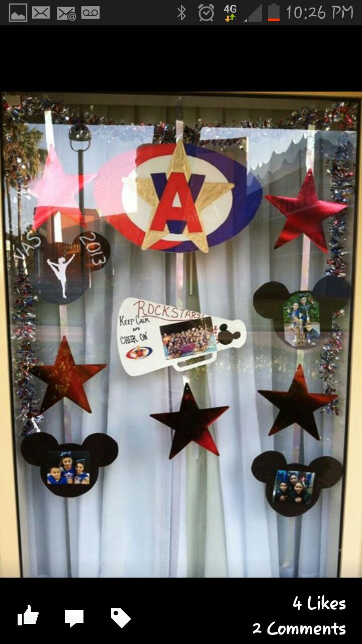 Cheer competition door decor remember to take your own for Cheerleading decorations