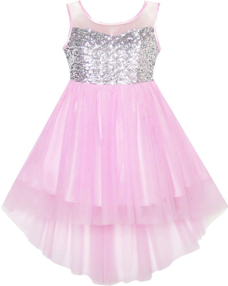 Flower girls dress sequin mesh hilo wedding pageant birthday size
