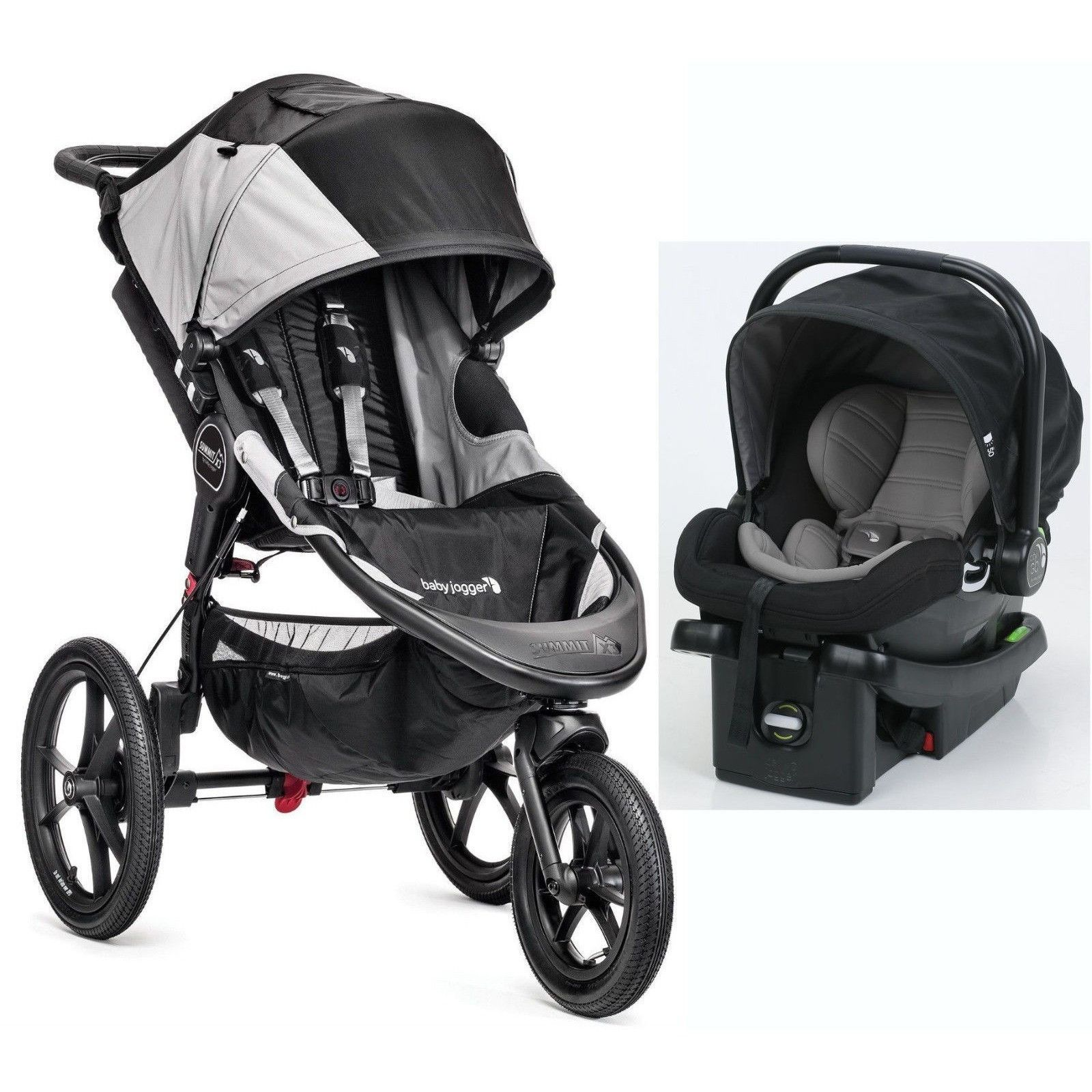 Baby Jogger Summit X3 Travel System Jogging Stroller W City Go Infant Car Seat