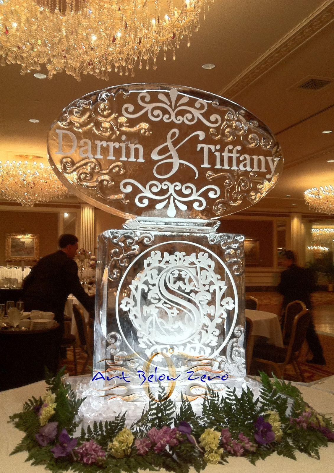 Darrin & Tiffany Monograms wedding ice sculpture | Wedding Ice