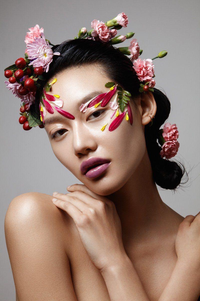 Flower power flower makeup flowers in hair beauty portrait