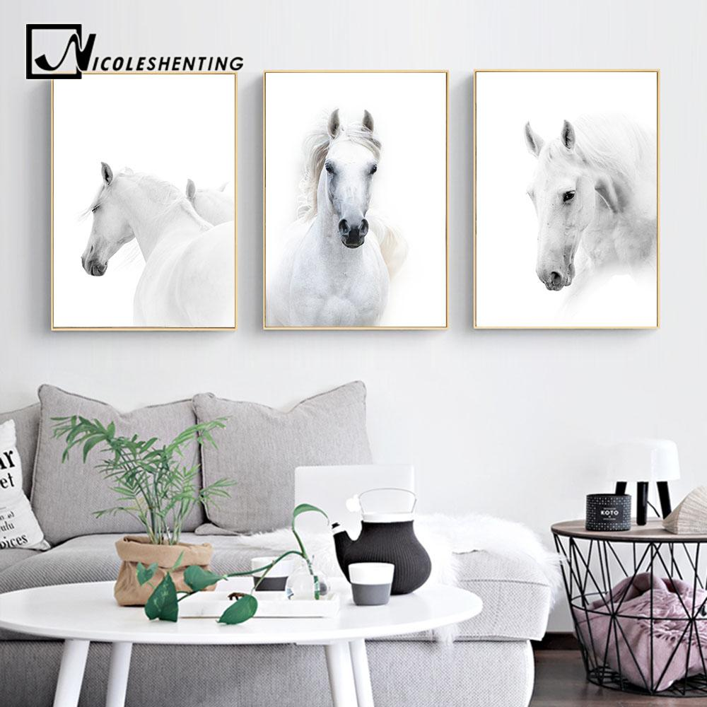 Animal White Horse Wall Art Canvas Posters And Prints