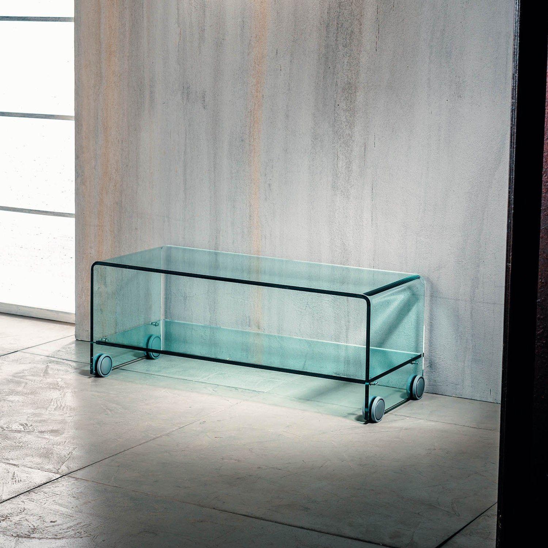 Tavolino Porta Tv.Tavolino Porta Tv Leonid In Vetro Curvato Su Ruote Leonid E