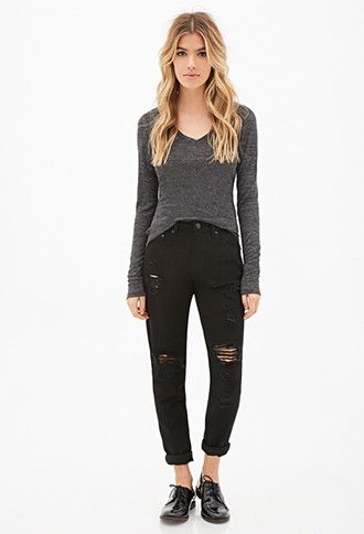 Heathered Ribbed Knit Top Forever 21 2000117247 Forever 21 3