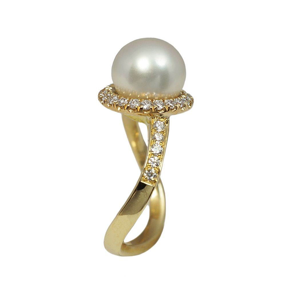 Side View Of Ana Pearl And Diamond Wave Engagement Ring By Cynthia Britt