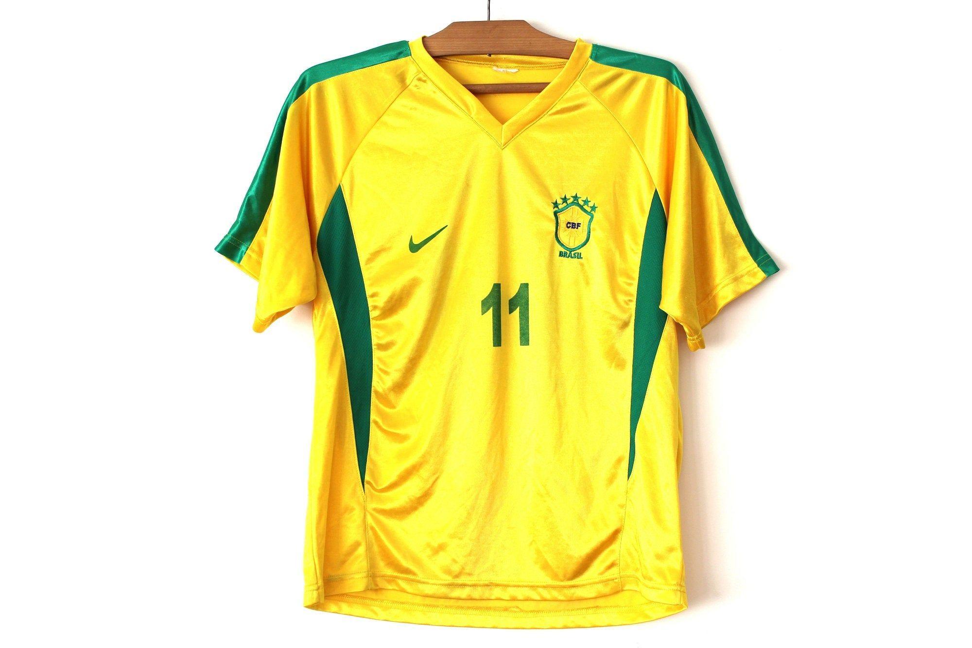 Vintage Nike Brasil Football Shirt, Yellow Green Jersey