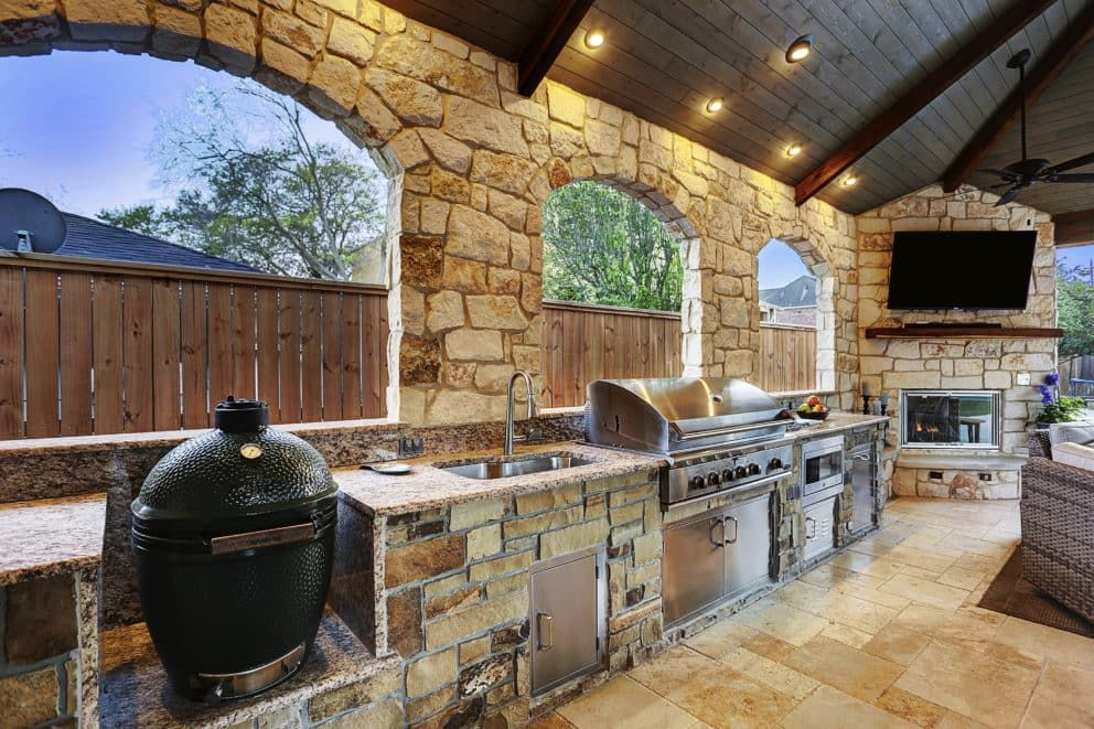 Expanded Outdoor Living Area In Houston Outdoor Remodel Outdoor Living Areas Outdoor Kitchen Plans