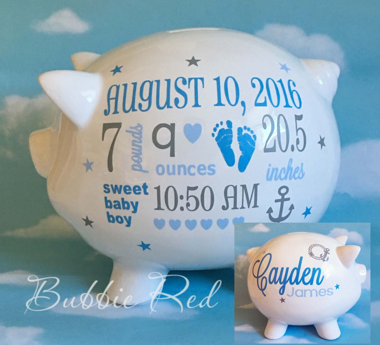 Personalized piggy bank nautical baby boy piggy bank ocean theme personalized piggy bank nautical baby boy piggy bank ocean theme baby gift negle Images