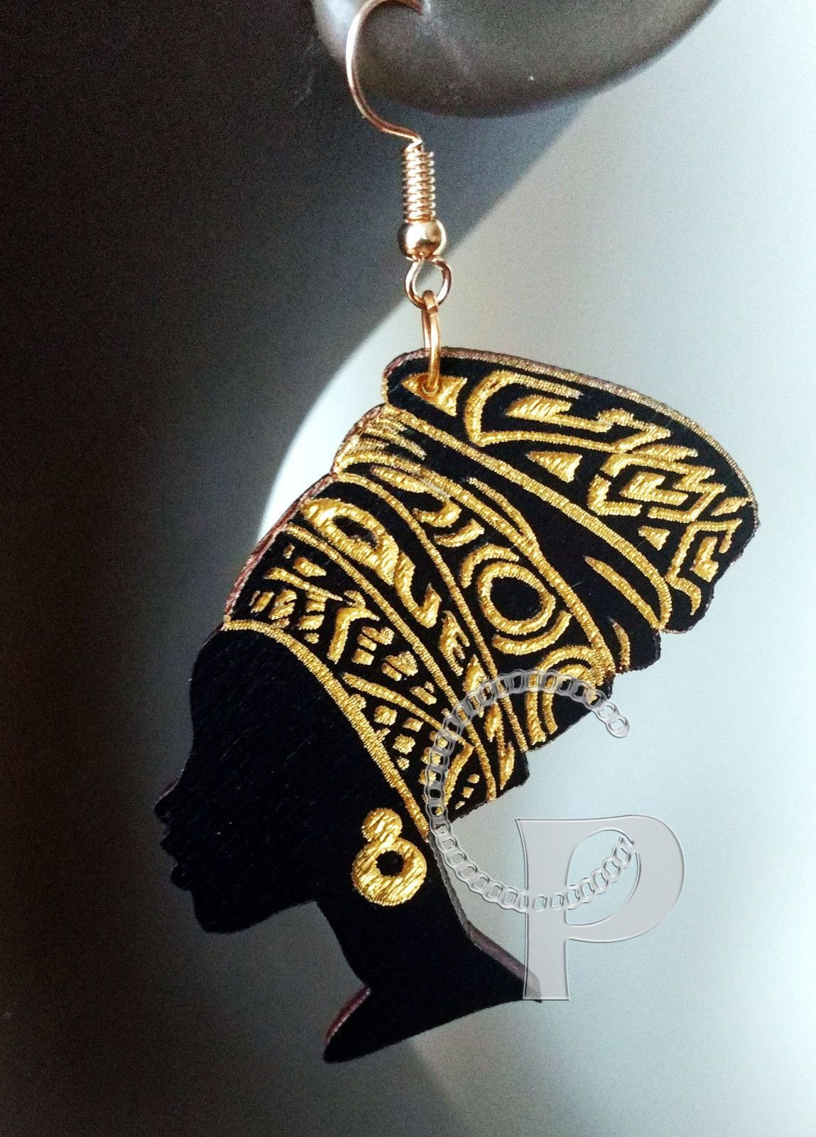 Laser Cut Wooden Earrings African Woman Queen Head Wrap In Black And Gold  Large 121b732364