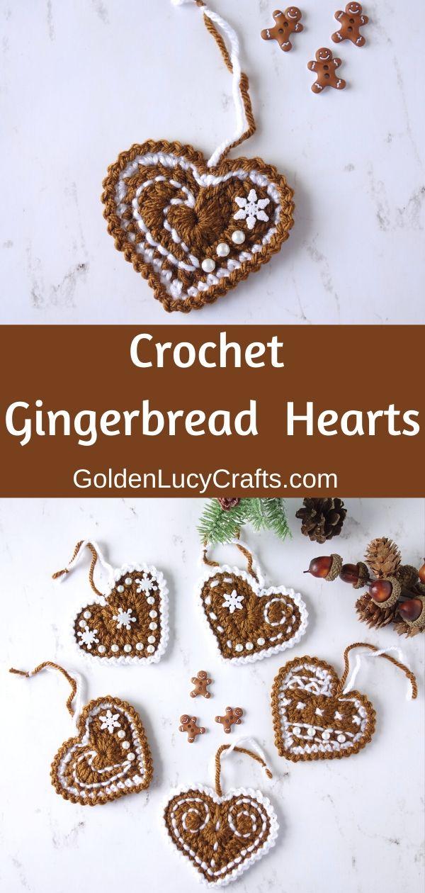 Photo of Crochet Gingerbread Heart Ornaments – GoldenLucyCrafts