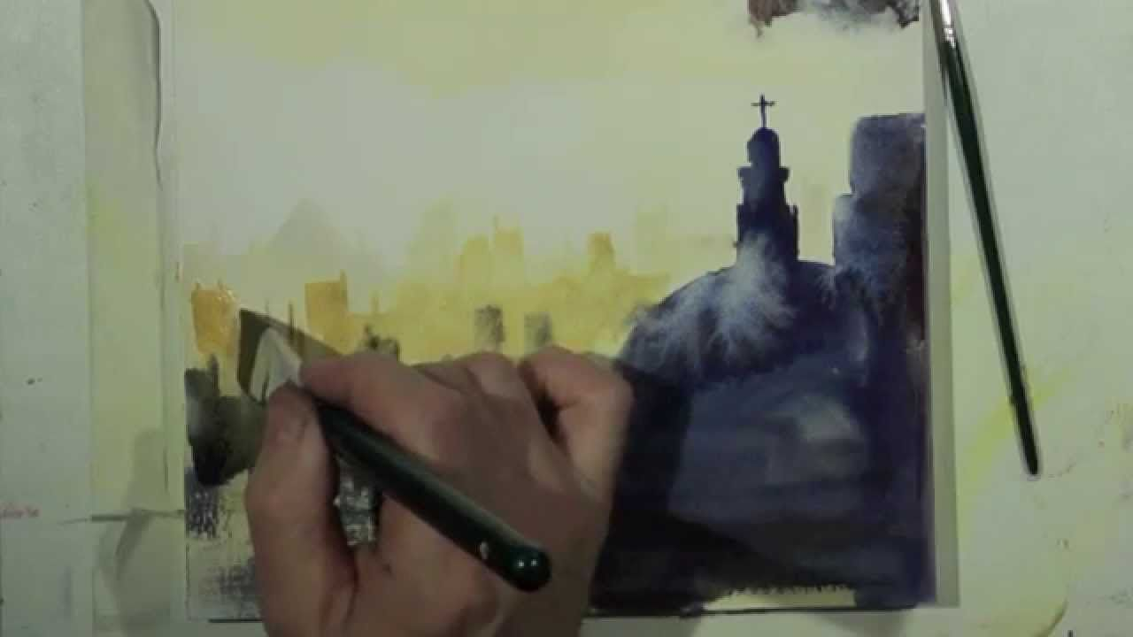 Cityscape Watercolor Paysage Urbain Aquarelle Watercolour Tutorials