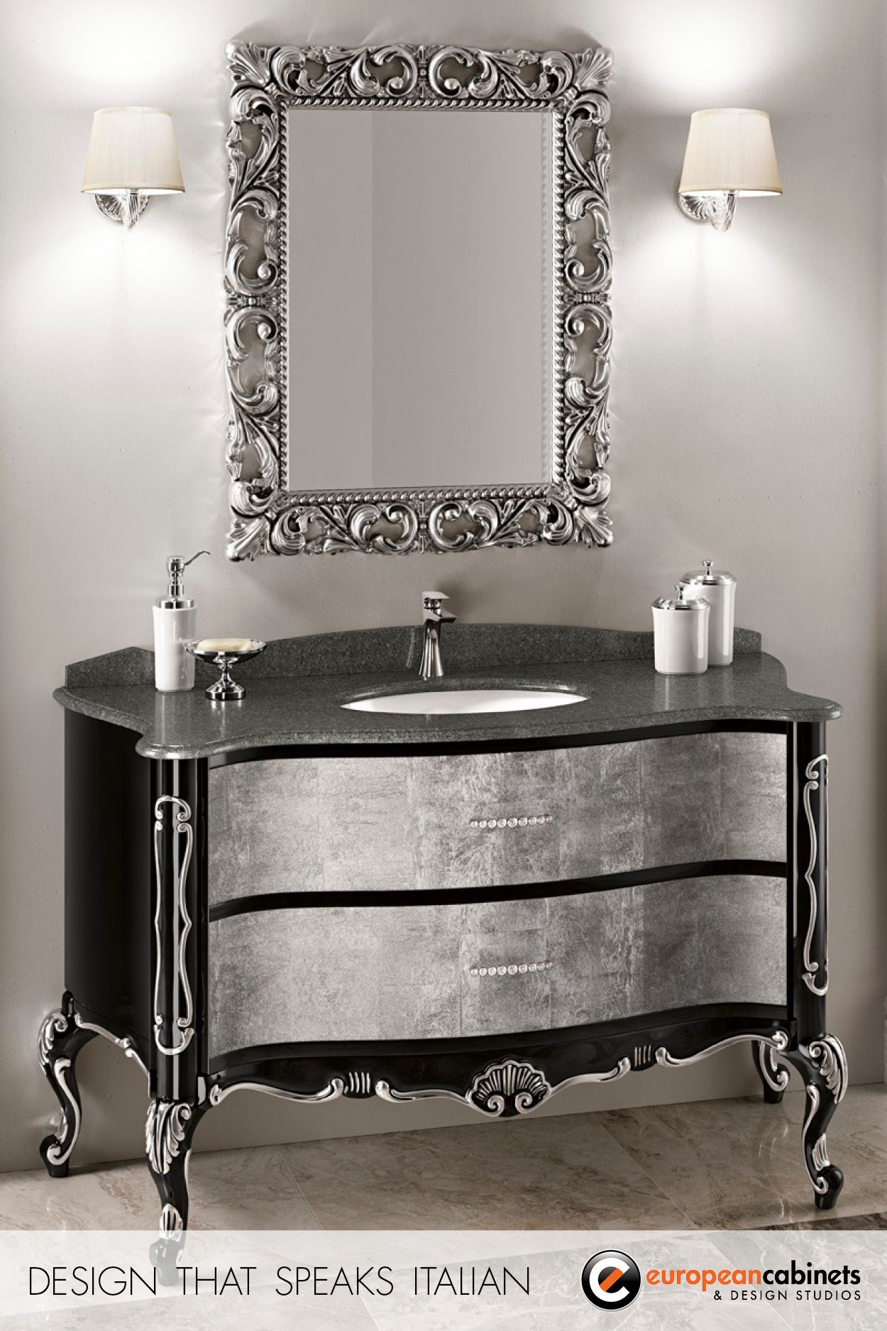 Black And Silver Bathroom Vanity From The Aida Collection By Gb