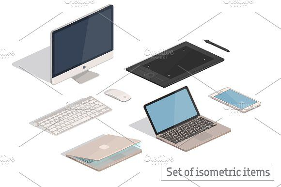 Contemporary Cappuccino Connect It Computer: Isometric Computer And Tablet Items By Natalka Dmitrova On