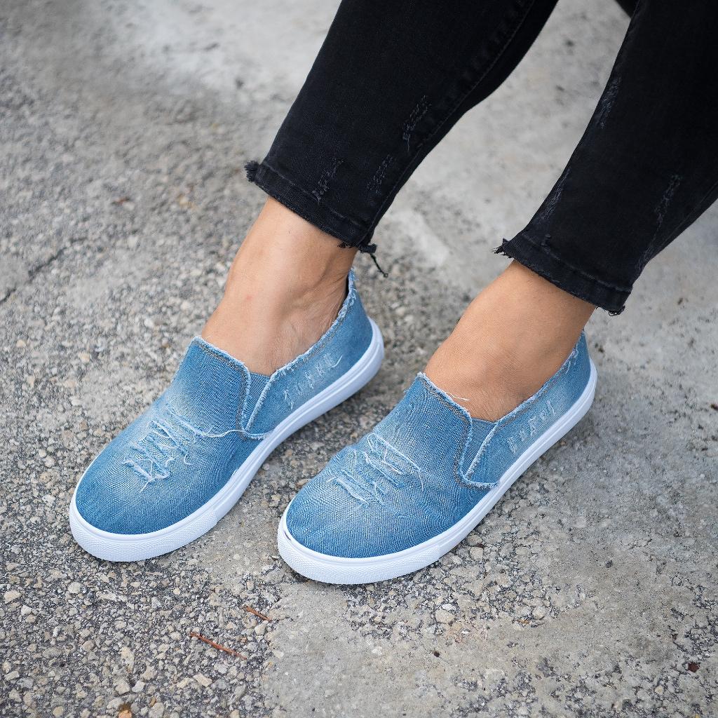 Light blue denim, Sneakers, Slip on sneaker