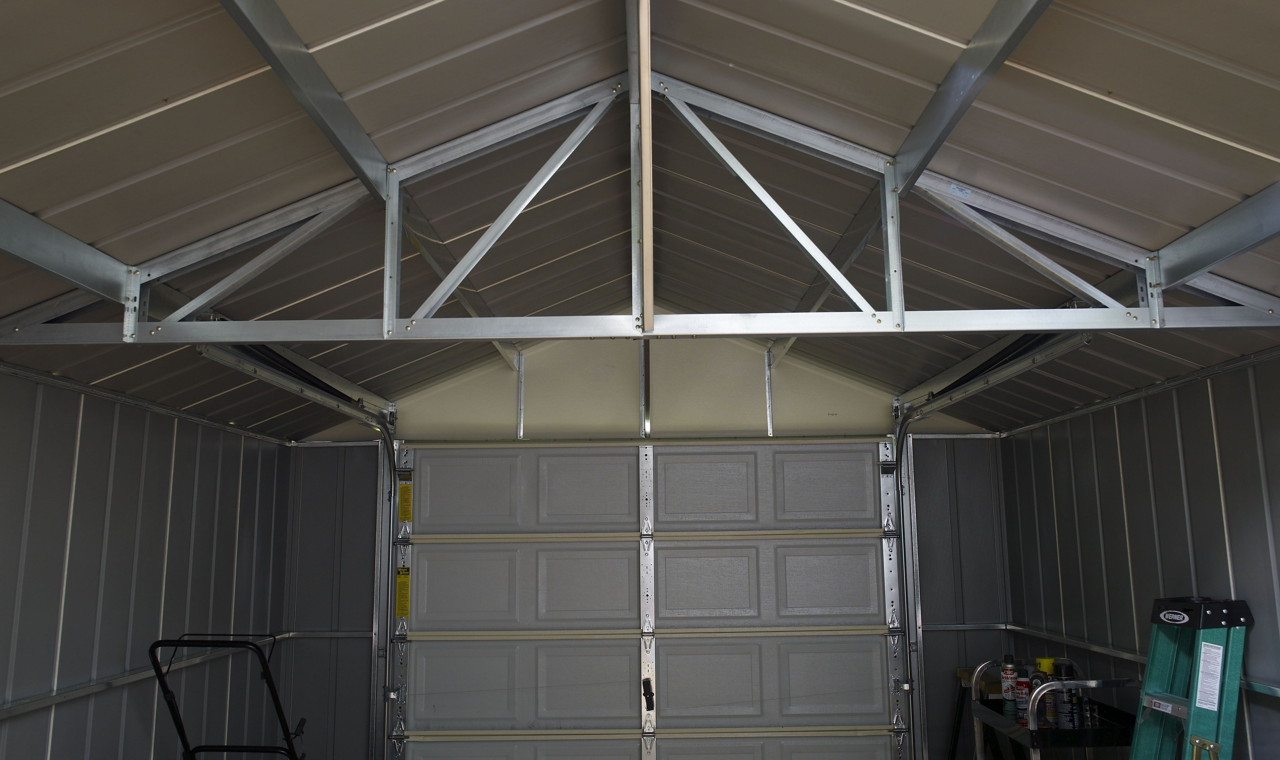 The High gable roof with reinforced steel trusses of the