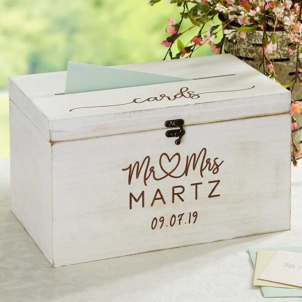 Infinite Love Personalized Wedding Wood Card Box With Images