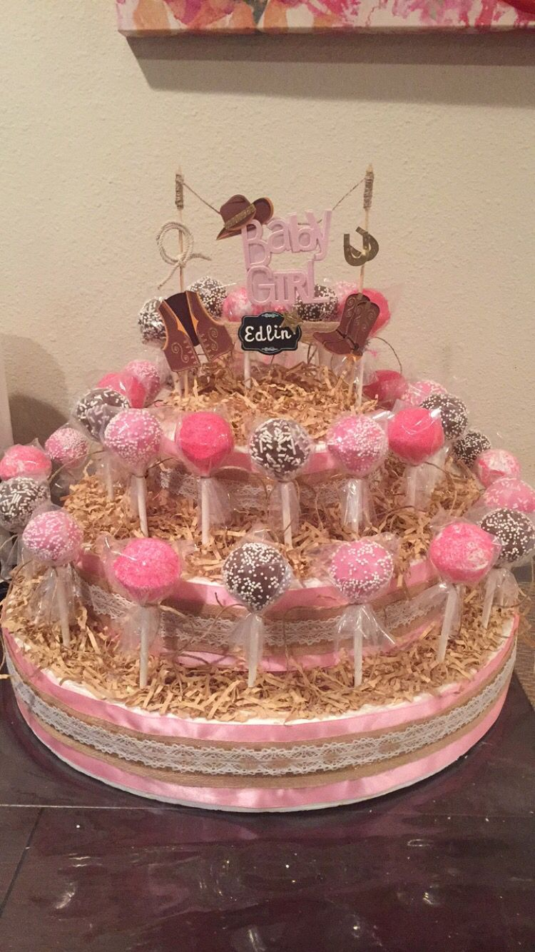 Cowgirl baby shower cake pop stand