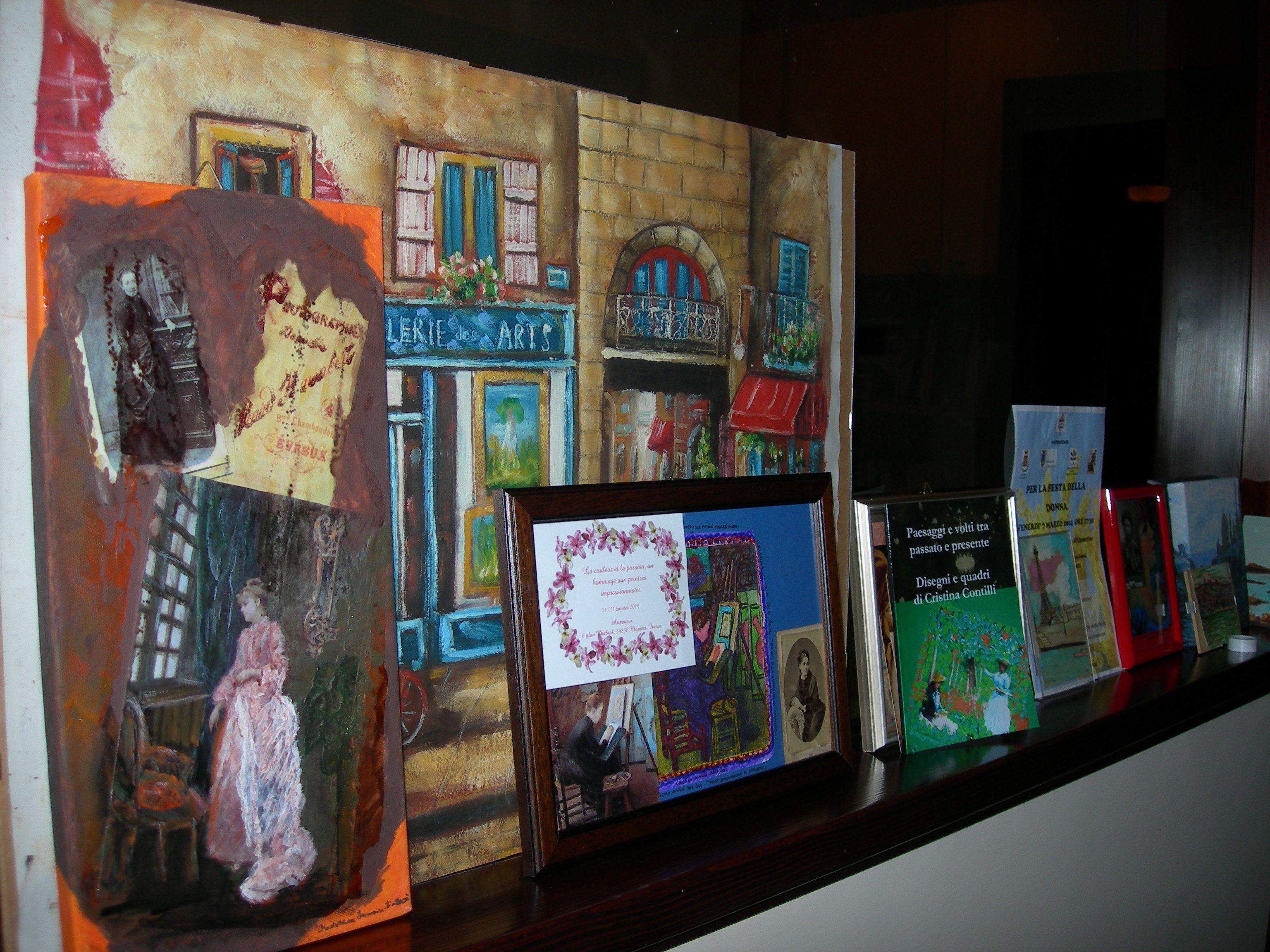 I quadri rimasti dopo la mostra sulle pittrici impressioniste e i nuovi disegni realizzati tra gennaio e febbraio 2014 per la mostra su Monet.