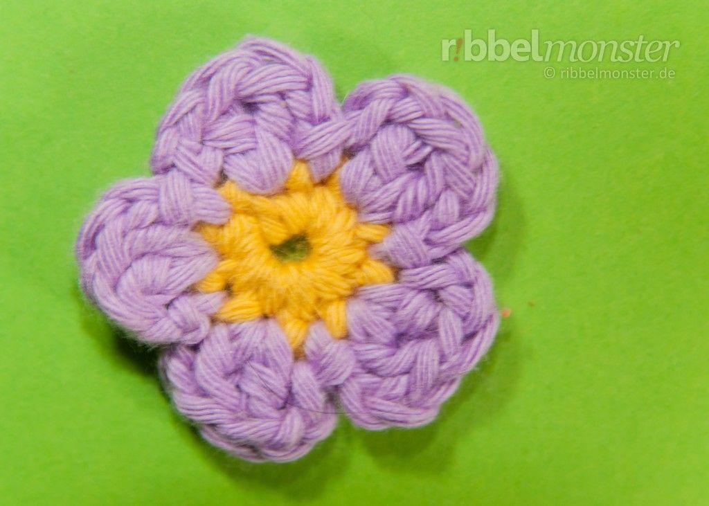 Blüte häkeln - Anleitung, Häkelanleitung | häkeln | Pinterest ...