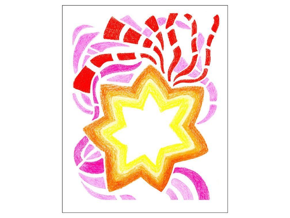 Season Of Lights Art Print Colored Star Holiday Art Prints By Dianehurstart On Etsy Holiday Art Prints Art Prints Light Art