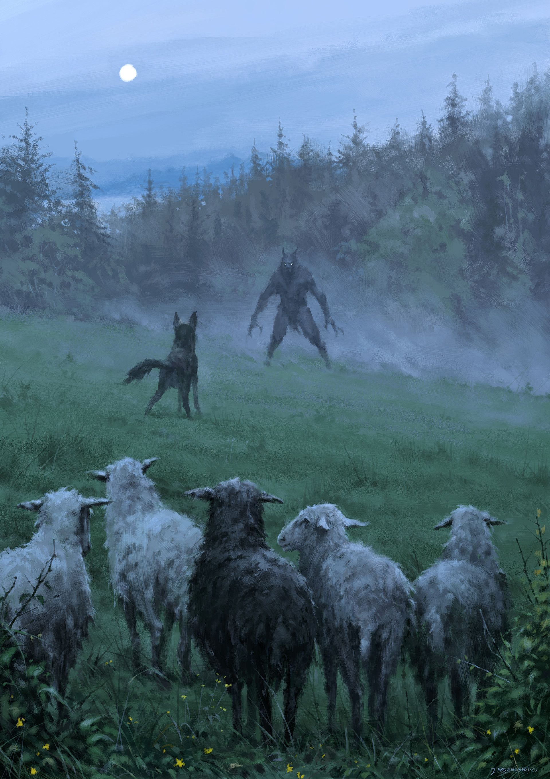 Shepherd and his faithful dog, Jakub Rozalski